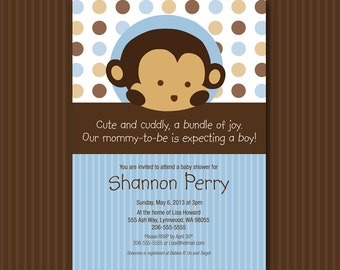 Blue Monkey Baby Shower Invitation Digital File Matches Mod Pod Pop Monkey INSTANT DOWNLOAD Customizable MicroSoft Word Template
