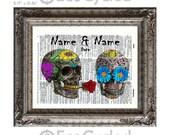 Sugar Skulls in Love w/ Names & Date on Vintage Upcycled Dictionary Art Print Book Art Print Anniversary Wedding Bones Customized Skeletons