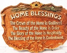 Vintage wall plaque home blessing hospitality vintage quote order contentment dimensional cottage decor