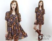 Robe babydoll robe indienne Hippie hippie robe Boho robe Festival robe Vintage des années 90 Hippie imprimé ethnique Boho Babydoll Mini robe S M