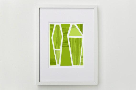 LAST CHANCE - Bright Green Abstract Geometric Art Print - Mid Century Modern Wall Art - 5x7, 8x10, 11x14 Artwork
