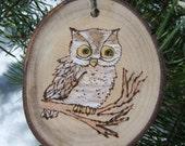 OWL | ASPEN Wood Slice Ornaments | Wood Burned Ornaments | Valentine gift