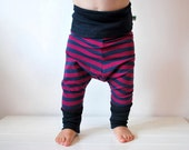 Stripe purple blue harem baggy leggings toddler stripy pants candy striped trousers childrens unisex boys girls cotton clothes