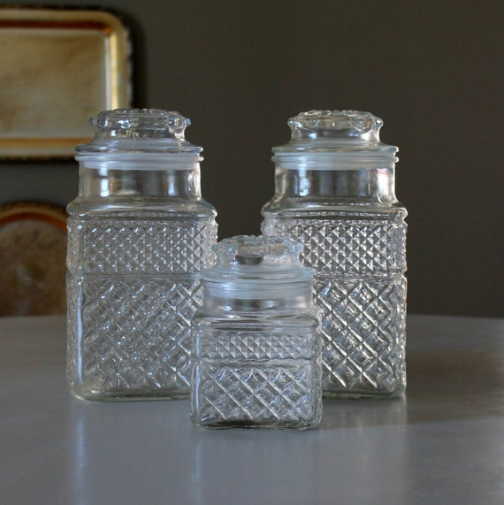 Glass Canister Set Vintage Wexford Clear By TheSquirrelCottage