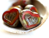 Rustic Heart beads, Red and Yellow, Czech glass, Picasso beads, table cut, red glass heart - 14mm - 6Pc - 1094