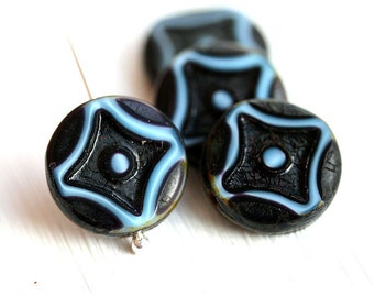 Coin beads, Czech picasso beads - Black and Blue - glass table cut beads, round - 15mm - 4Pc - 0195