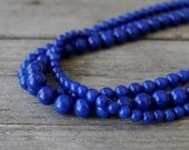 Cobalt Blue Necklace: Chunky Beaded Multi-Strand Necklace with Sterling Silver, Spring Fashion