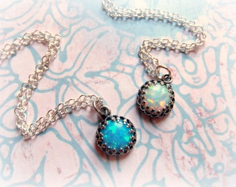 Dainty White or Blue Opal Sparkle Necklace