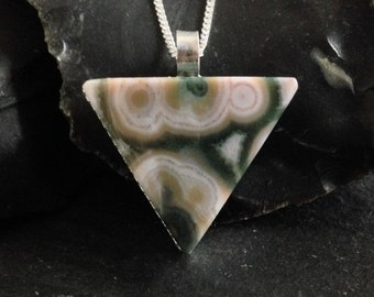 Sample - Ocean Jasper Triangle Necklace - Sterling Silver