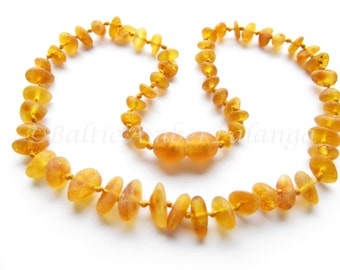 Baltic Amber Teething Necklace, Raw Unpolished Honey Color Beads