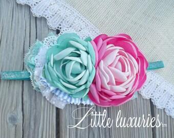 Princess Ponies - Mint and Pink, Satin, Flower, Satin and Lace Headband, Pastel, Pink and Mint Satin, Lace, Swiss dot, Princess