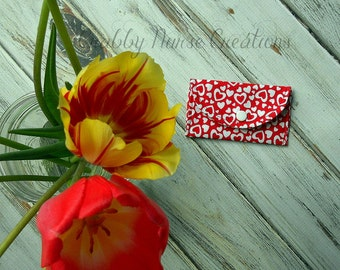 Heart Fabric Business Card Holder or Coin Purse
