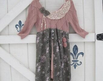 Vintage rose dress, blush sage, Romantic  dress, floral dress S, upcycled clothing by Shaby Vintage