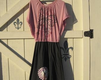 Rustic dress, gray pink, Angel sleeve dress, artsy rustic, Summer Spring dress, knit dress, 80s style dress, butterfly dress S