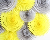 Yellow and Gray Baby Shower Decorations, tissue paper fans, baby shower decor, party decorations- Set of 9 Fans