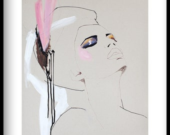 "fashion illustration Giclée print of acrylic painting, cream, pink, makeup ""Love"""