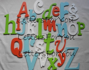 Alphabet Letter Set complete set of CUSTOM PAINTED wooden wall letters (15.00 shipping) Nursery Child Room Decor