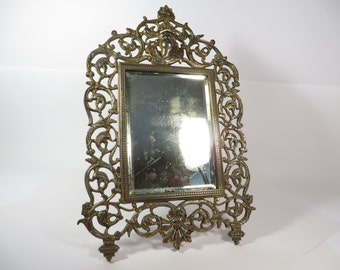 Vintage Brass Table Top Mirror - National Brass and Iron Works Mirror