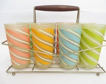 Set of 8 Striped Color Craft Tumblers - Color Craft Shat R Pruf Glasses