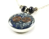 Orgone Energy Small Reversible Pendant in Silver with Lapis Lazuli Gemstones - Orgone Jewelry - Artisan Jewelry