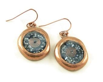 Orgone Energy Wax Seal Look Dangle Earrings in Copper with Lapis lazuli - Dangle Earrings - Orgone Energy Jewelry - Artisan Jewelry