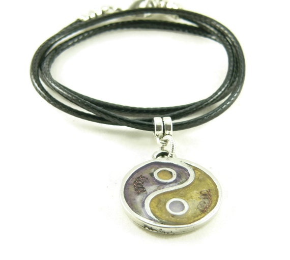 Orgone Energy Small Yin-Yang Pendant Necklace in Amethyst and Citrine with Vegan Leather Cord - Purple and Yellow - Artisan Jewelry