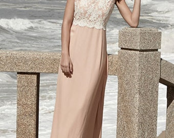 pink maxi- silkdress with lacetop