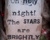 Rustic Wood Christmas Plaque - Holy Night