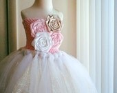 gold,pink and white flower girl tutu dress