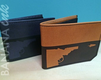 Idaho Gun-Tree Leather Wallet -BANANA ink