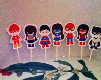 Cute Little Kids Dressed as Superhero cupcake toppers