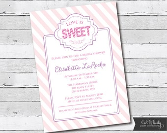 Bridal Shower Invitation, Bridal Shower Invite, Love is Sweet, printable, DIY