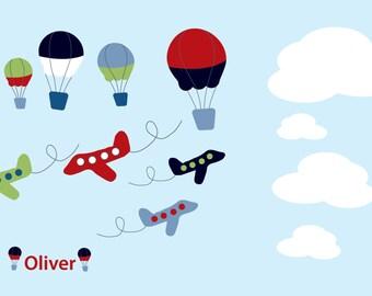 Custom Nursery decals - Children's decals - Vinyl wall decals - Hot air balloons - name decal - plane decals -  clouds - Big set