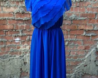 Vintage Blue Ruffle Dress