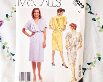 Out of print sewing pattern, 1980s fashion pullover dress in two versions, McCall's pattern 3029, size 14
