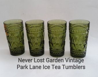 Park Lane Glass Ice TeaTumblers Green