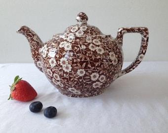 Vintage Staffordshire---Calico /England/ Braun  porcelain  teapot,cherry blossom motivs