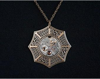 Steampunk Necklace Pendant - Swarovski Crystals