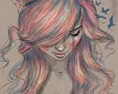 Colourblind // Rainbow hair // Digital Art Print // Fine art print