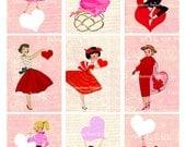 INSTANT DOWNLOAD, Valentine Cards, Retro Ladies Valentine Cards, Printable, Valentine Collage, Retro Valentine Labels, Printable Labels