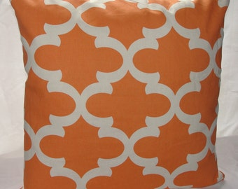 Designer Premier Prints Apache Orange Fynn Quatrefoil Throw Pillow Cover Orange and White
