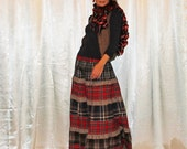Custom order Skirt Autumn Winter Warm Tiered  Plaid Check Chik Long Skirt with lining