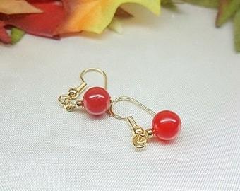 14k Gold Ruby Red Earrings Red Jade Earrings Dangle Earrings 14k Gold Filled Earrings Stamped GF 1/20 BuyAny3+Get1Free