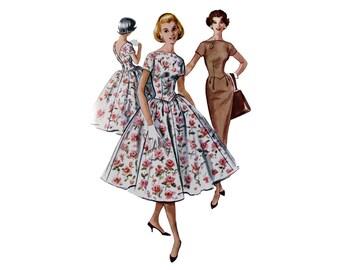 Vintage Dress, Pattern, McCall's 4123. Vintage Dress, Size 12, 1950s Pattern, Mad Men Dress, Cocktail Dress, Basque Waist, Wiggle Dress