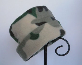 Camouflage Fleece Hat, Roll Brim Hat, Camo Fleece Hat, Soft and Warm Hat, Fleece Hat