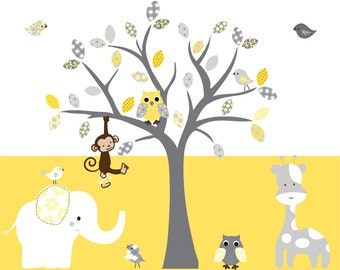 Nursery children's wall decal tree set owls decals