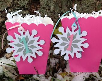 Snowflake Winter Onederland Winter Wonderland First Birthday Favor Tags Pink and Aqua Set of 12