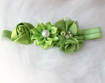 newborn baby photography prop-sage green elastic headband with flowers, baby shower gift,baby photo prop, 0-3 mo headband, photography prop