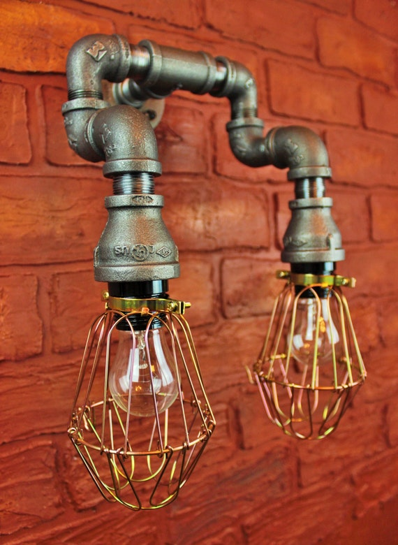Pipe lighting brass cages wall art steampunk industrial for Painting black iron pipe