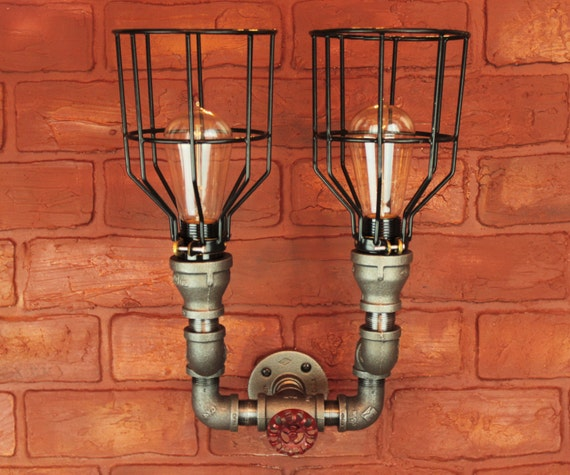 Wall sconce light fixture pipe lighting w cages by hanormanor for Black pipe light fixture